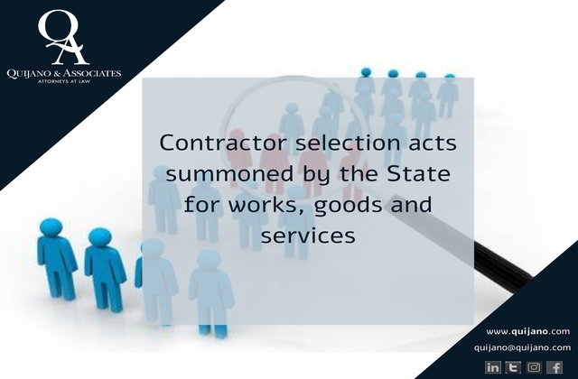 Contractor selection acts summoned by the State for works, goods and services